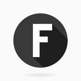 Fine Vector Flat Icon With Letter F. Fine vector white letter F in the circle. Flat design and long shadow Royalty Free Stock Photo