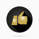 Fine Vector Flat Icon With Thumb Up. Fine vector icon with golden thumb up in circle. Flat design with long shadow Stock Photo