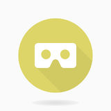 Fine Vector Flat Icon With VR Logo. Fine vector icon with white VR logo in the golden circle. Flat design with long shadow. Virtual reality logo Stock Photo