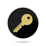 Fine Vector Key Flat Icon. Fine vector golden key icon in the circle. Flat design and long shadow Royalty Free Stock Photography