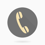 Fine Vector Telephone Receiver Flat Icon. Fine vector golden telephone receiver in the circle. Flat design with long shadow Stock Photography