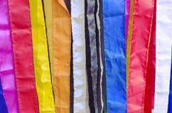 Fine vibrante del panno del tessuto su con molti colori Immagini Stock