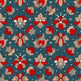 Fine Vintage Floral seamless pattern. Fine Vintage Floral  seamless pattern, blue and red Royalty Free Stock Image