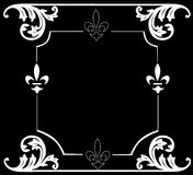Fine white frame. Illustration with floral frame decoration on black background Stock Photography