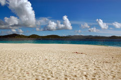 Fine white sand beach. Sandy Cay.  British Virgin Islands Stock Photos