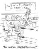 Fine Wine. Cartoon about a restaurant that combines fast food with fine wine Royalty Free Stock Photo