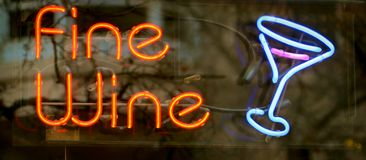 Fine Wine Neon Sign Stock Photo