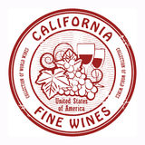 Fine Wines stamp. Grunge rubber stamp with words California, Fine Wines Royalty Free Stock Photography