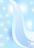 Fine winter background with snowflakes in white and blue. Fine winter background with snowflakes and blue stripes Royalty Free Stock Image