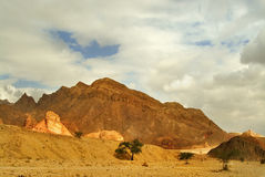 Fine winter weather. The mountains brightly shined by the sun about Eilat in Israel Stock Images