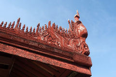 Fine work in Myanmar. Ancient place Mandalay palace , Myanmar Royalty Free Stock Photography