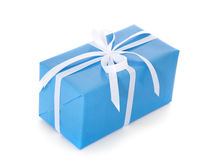 Fine wrapped blue present Stock Photo