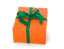 Fine wrapped orange present Royalty Free Stock Image