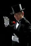 Fine young gentleman. With high hat and tuxedo holding red rose in hand with white gloves with seductive look Stock Photography