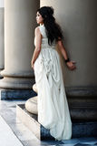 The fine young girl with a light dress. royalty free stock photo