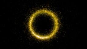 Fine zero di numero dei fuochi d'artificio su Stella filante bruciante sotto forma dell'ovale e cerchio isolato su fondo nero Ogg fotografia stock libera da diritti