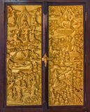 Finely carved wooden window in Buddhist temple Royalty Free Stock Photo