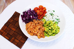 Finely chopped ingredients for a salmon salad Royalty Free Stock Images