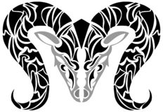 Head of ram tattoo in black and gray isolated stock photography