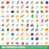 100 fineness icons set, isometric 3d style Royalty Free Stock Image