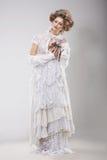finery Блестящая дама в элегантном кружевном платье стоковые фото