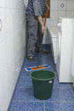 Finery Day. Household work in a bathroom as deseam and wash Stock Photos