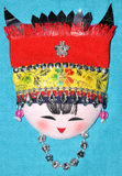 Finery embroidery of Chinese minority traditional. Finery embroidery doll of Chinese minority Chuang's traditional style. The raiment and hat for women in feast Royalty Free Stock Image