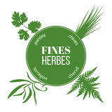 Fines herbes flat silhouettes. Vector set of spice blend. Design for cosmetics, restaurant, market, menu, market, health care products. French cuisine, ready Royalty Free Stock Images