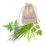 Fines herbes sachet. Mix. Swatch pouch with herbs. Design for cosmetics, restaurant, store, market, natural health care products. Can be used as logo design Royalty Free Stock Photography