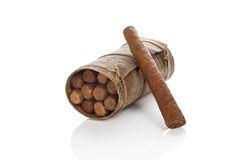 Finest cuban cigars. Finest cuban cigars on white background Stock Photos