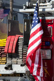 Finest Flag. On Memorial day an American flag is displayed patriotically on a fire truck in New Hyde Park NY Stock Images