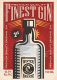 Finest gin retro poster ad with gin bottle on old paper texture. Promotional banner for one of the most popular beverages. Vector art illustration Stock Photos