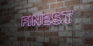 FINEST - Glowing Neon Sign on stonework wall - 3D rendered royalty free stock illustration. Can be used for online banner ads and direct mailers Stock Photos