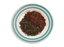Finest tea leaves. Red and Green Finest tea leaves Stock Image