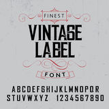 Finest Vintage Label Font Poster. On the grey background vector illustration Royalty Free Stock Image