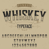 Finest Whiskey Typeface Poster. With decoration on beige background vector illustration Royalty Free Stock Image