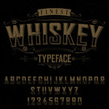 Finest Whiskey Typeface Poster. With decoration on black background vector illustration Stock Photography