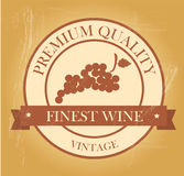 Finest wine seal. Over vintage background vector illustration Royalty Free Stock Photos