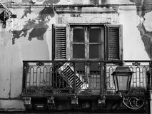 Finestra abbandonata in bianco e nero della casa con il balcone Immagini Stock