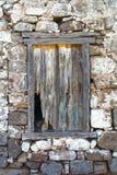Finestra abbandonata della casa del villaggio Fotografia Stock