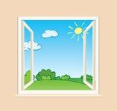 Finestra aperta con la natura verde fuori Royalty Illustrazione gratis