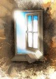 Finestra aperta con un libro su un davanzale della finestra Immagine Stock