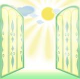 Finestra aperta del vetro macchiato Fotografie Stock