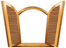 Finestra aperta di legno Immagini Stock