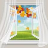 Finestra aperta e paesaggio di autunno Fotografia Stock Libera da Diritti
