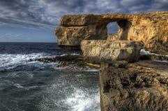 Finestra azzurrata, Gozo Immagine Stock