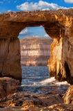 Finestra azzurrata, isola di Gozo, Malta Immagine Stock Libera da Diritti