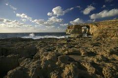Finestra azzurrata, isola di Gozo, Malta Fotografie Stock