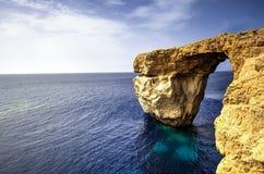 Finestra azzurrata, isola di Gozo, Malta Fotografia Stock