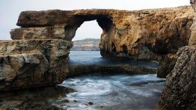 Finestra azzurrata, Malta Immagine Stock